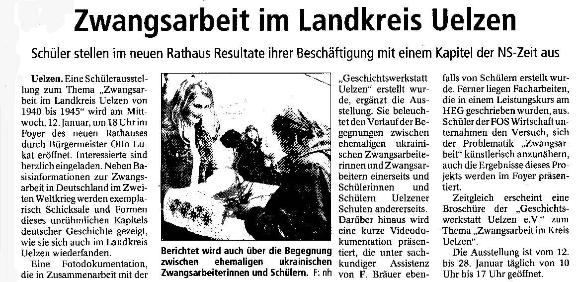 Read more about the article Presseartikel zur Zwangsarbeit